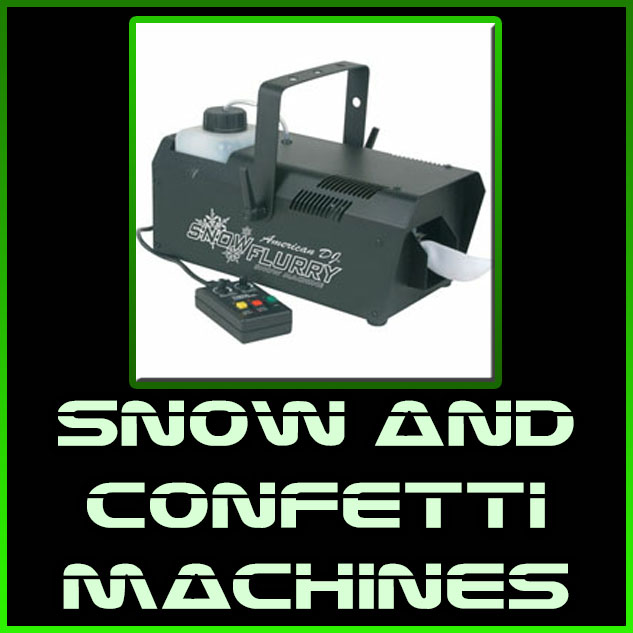 snow and confetti machines